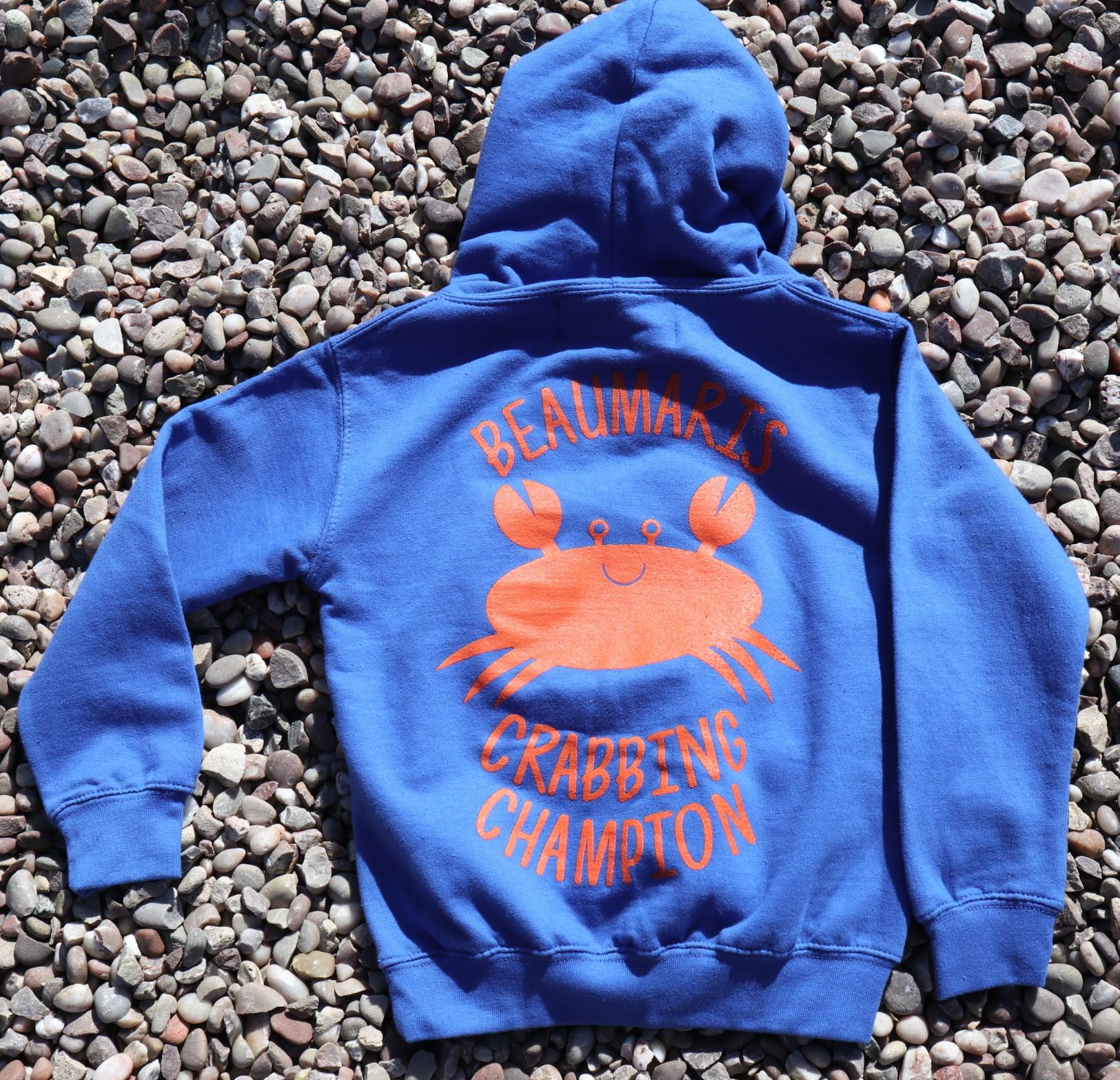 Kids Beaumaris crabbing champion hoody blue