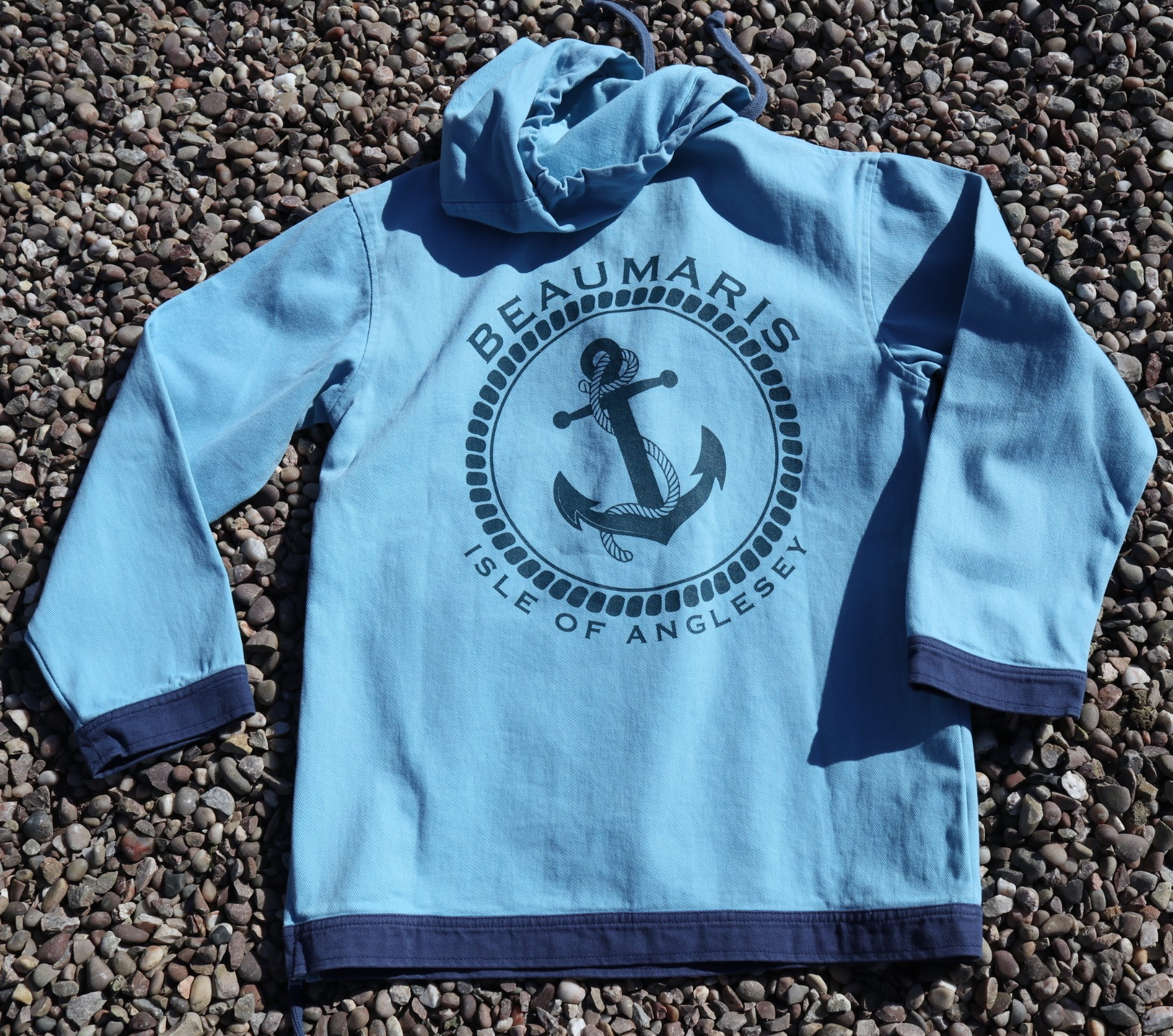 coast canvas hoody with zip neck sky