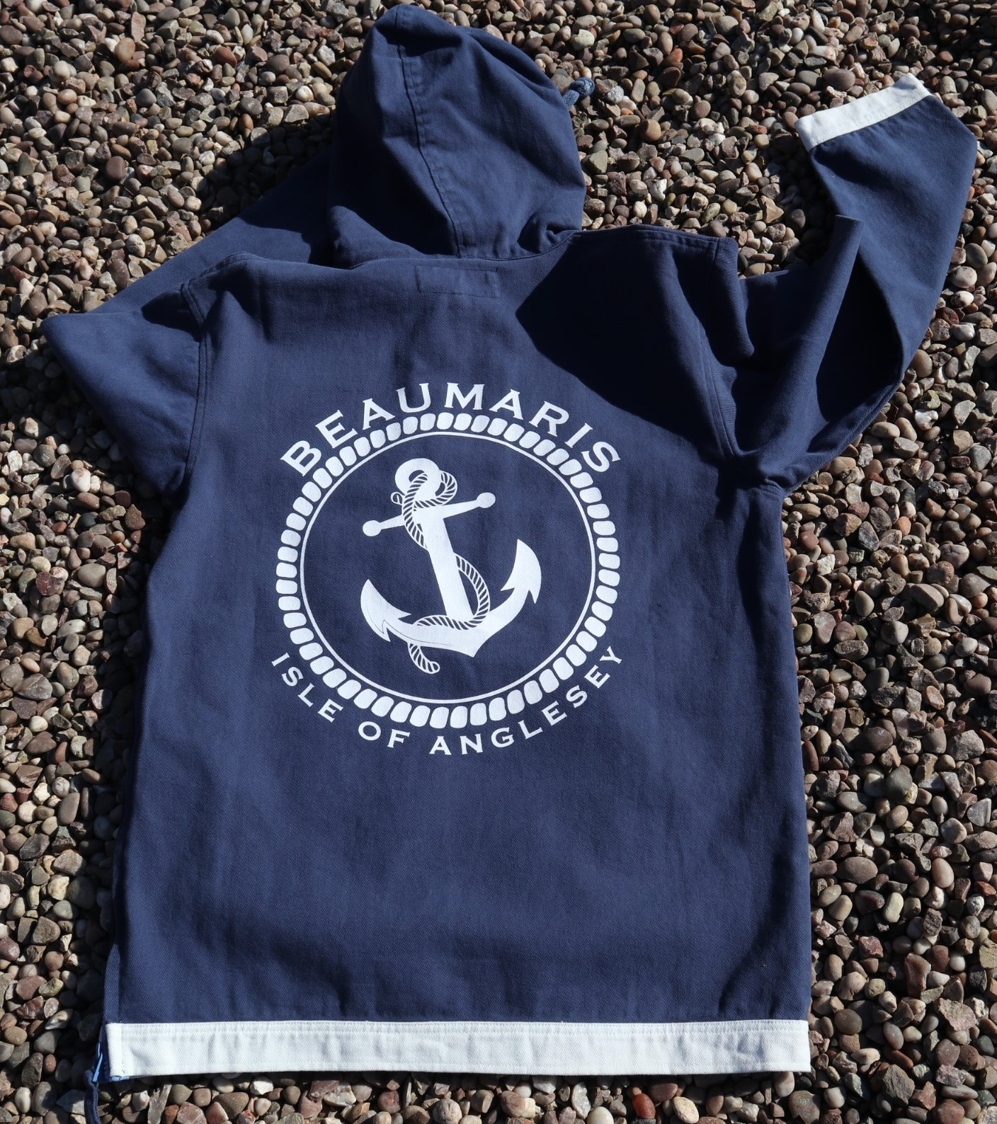 coast canvas hoody with zip neck navy