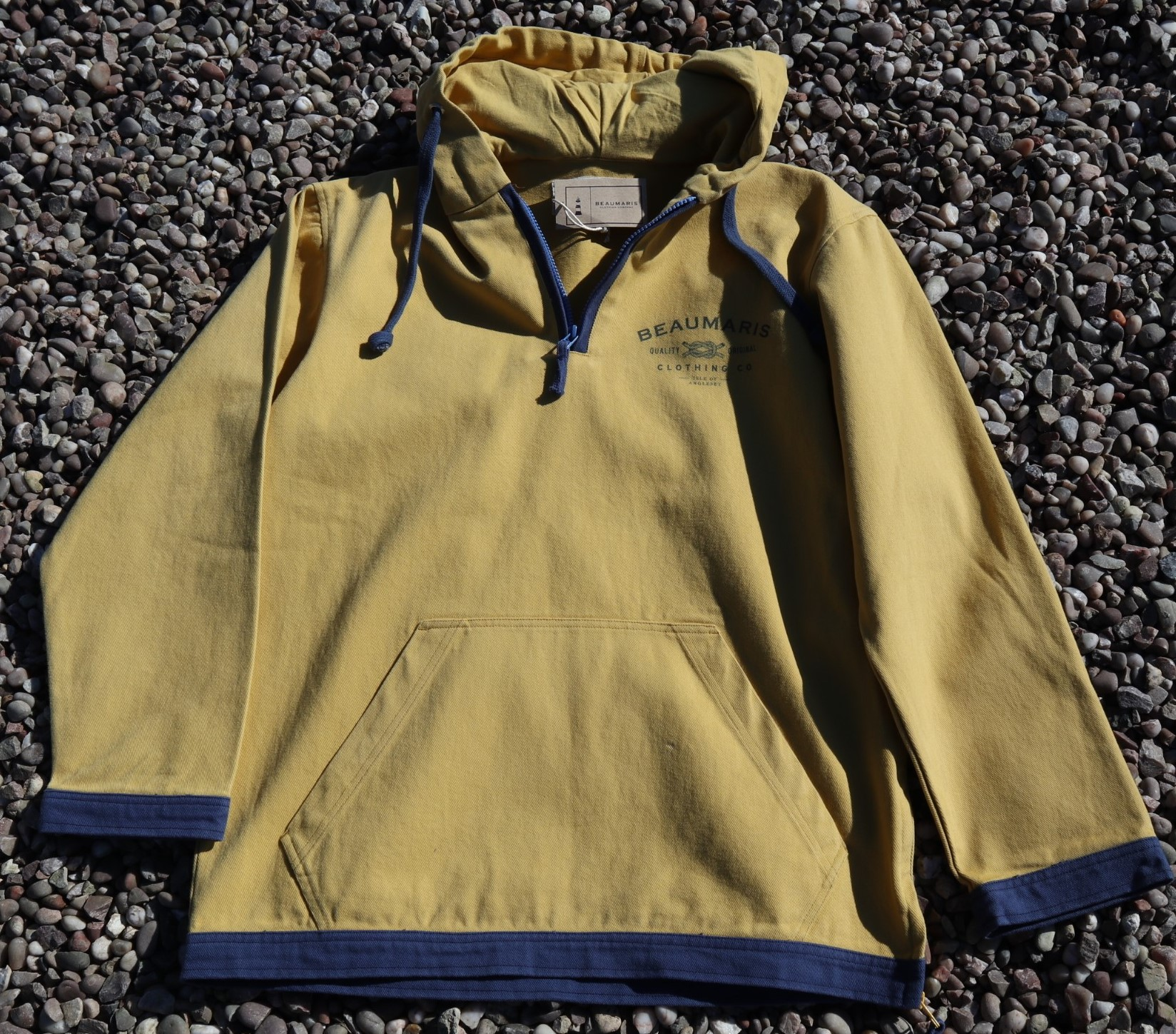 coast canvas hoody with zip neck yellow
