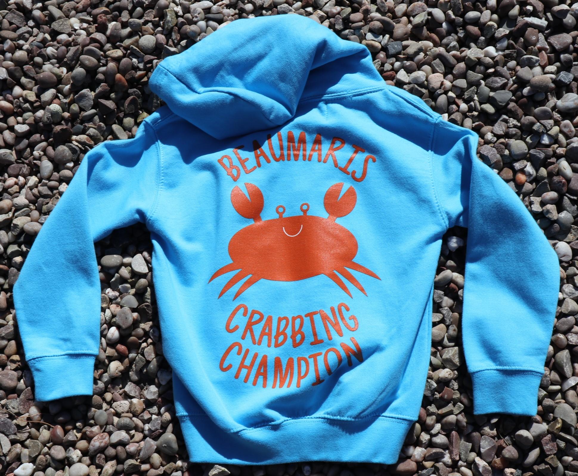 Kids Beaumaris crabbing champion hoody sky
