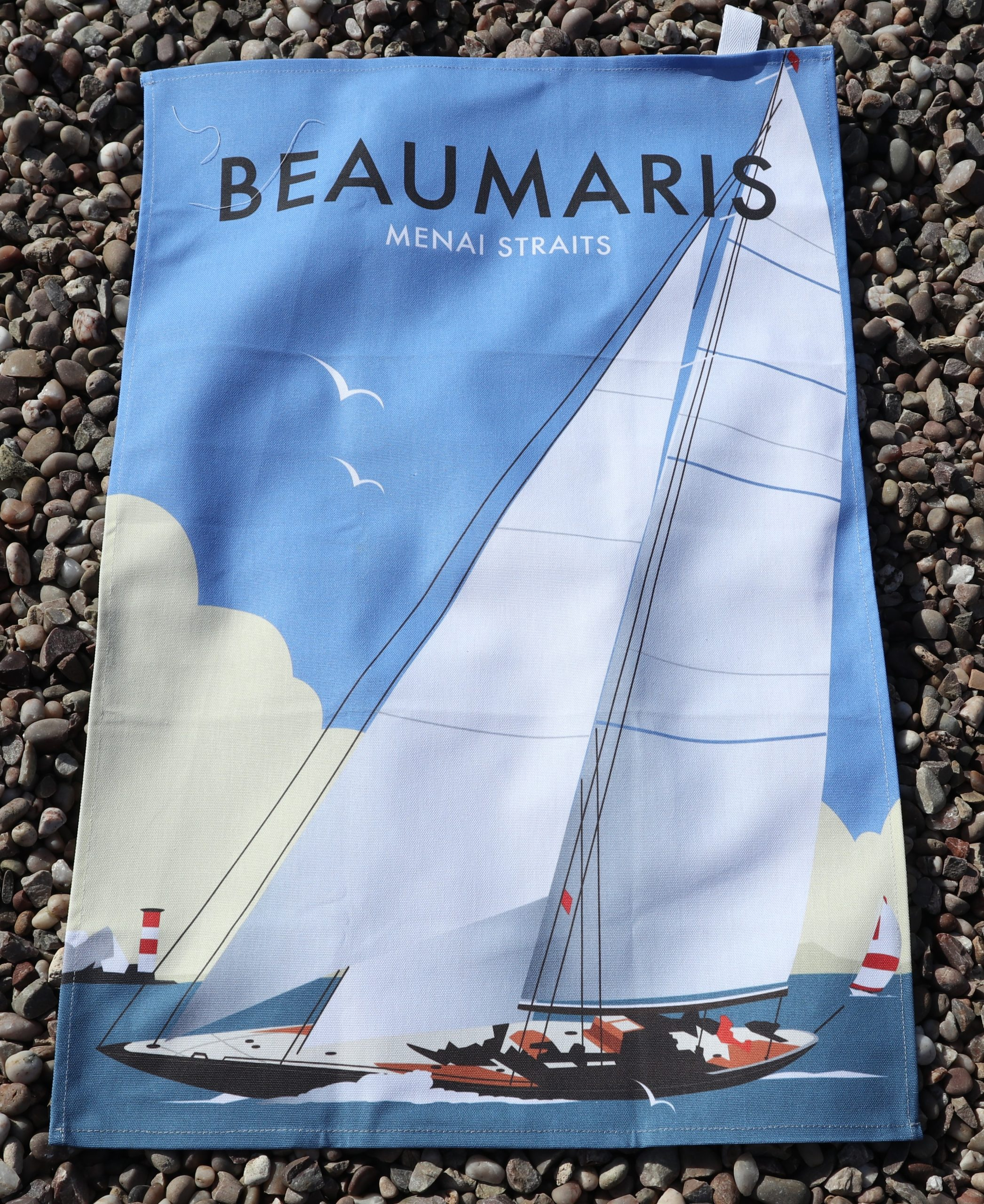 Beaumaris tea towels yacht on the straits