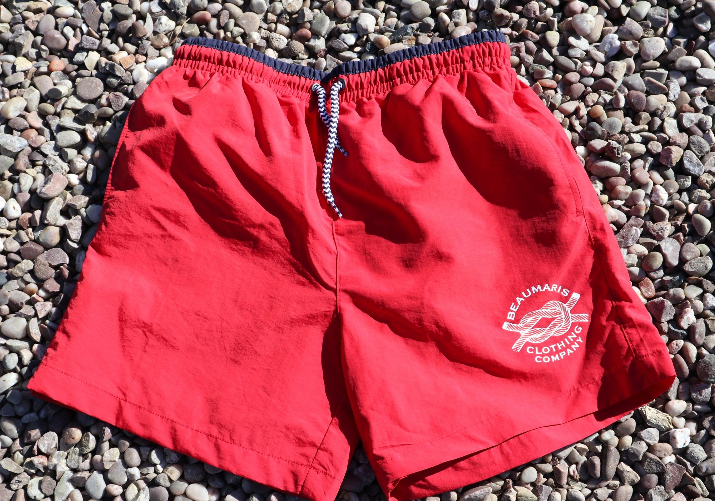 Mens swim shorts red