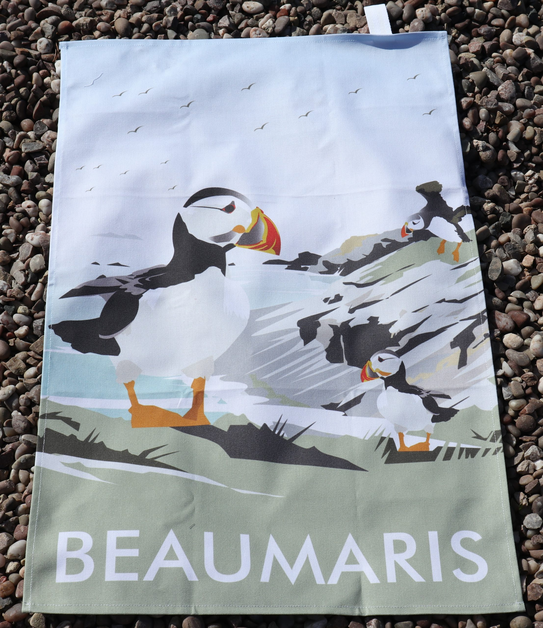 Beaumaris tea towels puffin island
