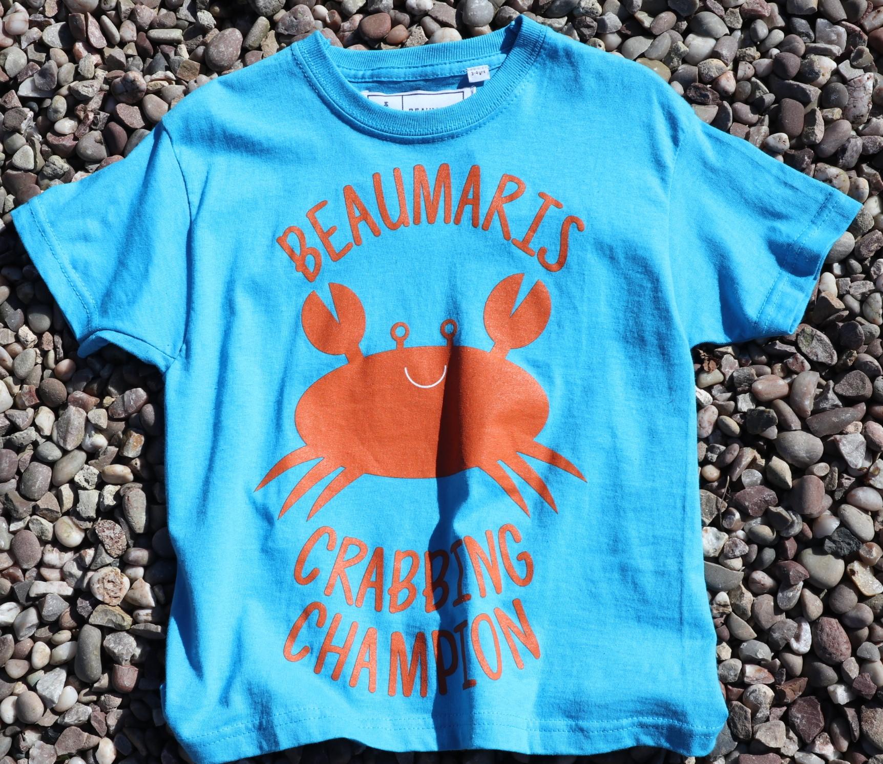 kids beaumaris crabbing champion tee sky